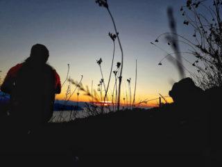 Trail runner all'alba sul Monte Castellana