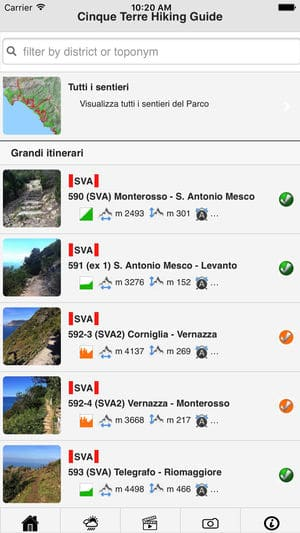 È nata l'applicazione ufficiale del Parco Nazionale delle Cinque Terre