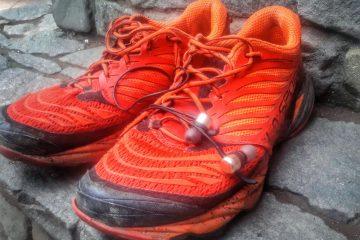 un paio di scarpe con auricolari