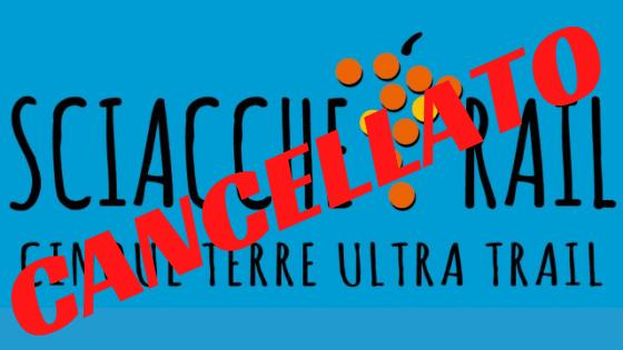 """Logo dello Sciacchetrail con sovrimpessa la scritta """"Cancellato"""""""